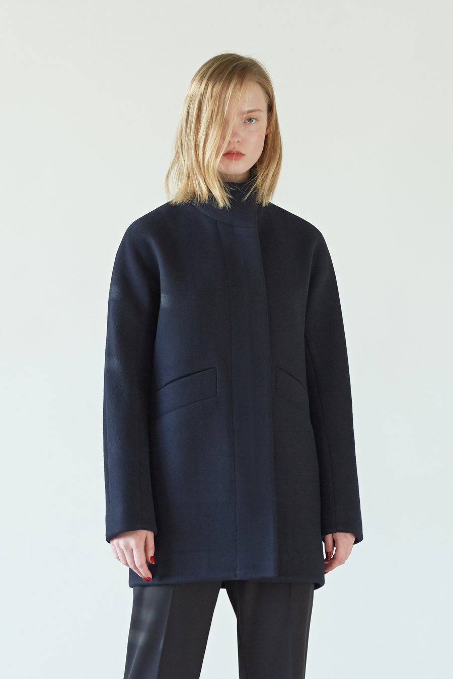 [30%] ZIP UP HALF COAT - NAVY