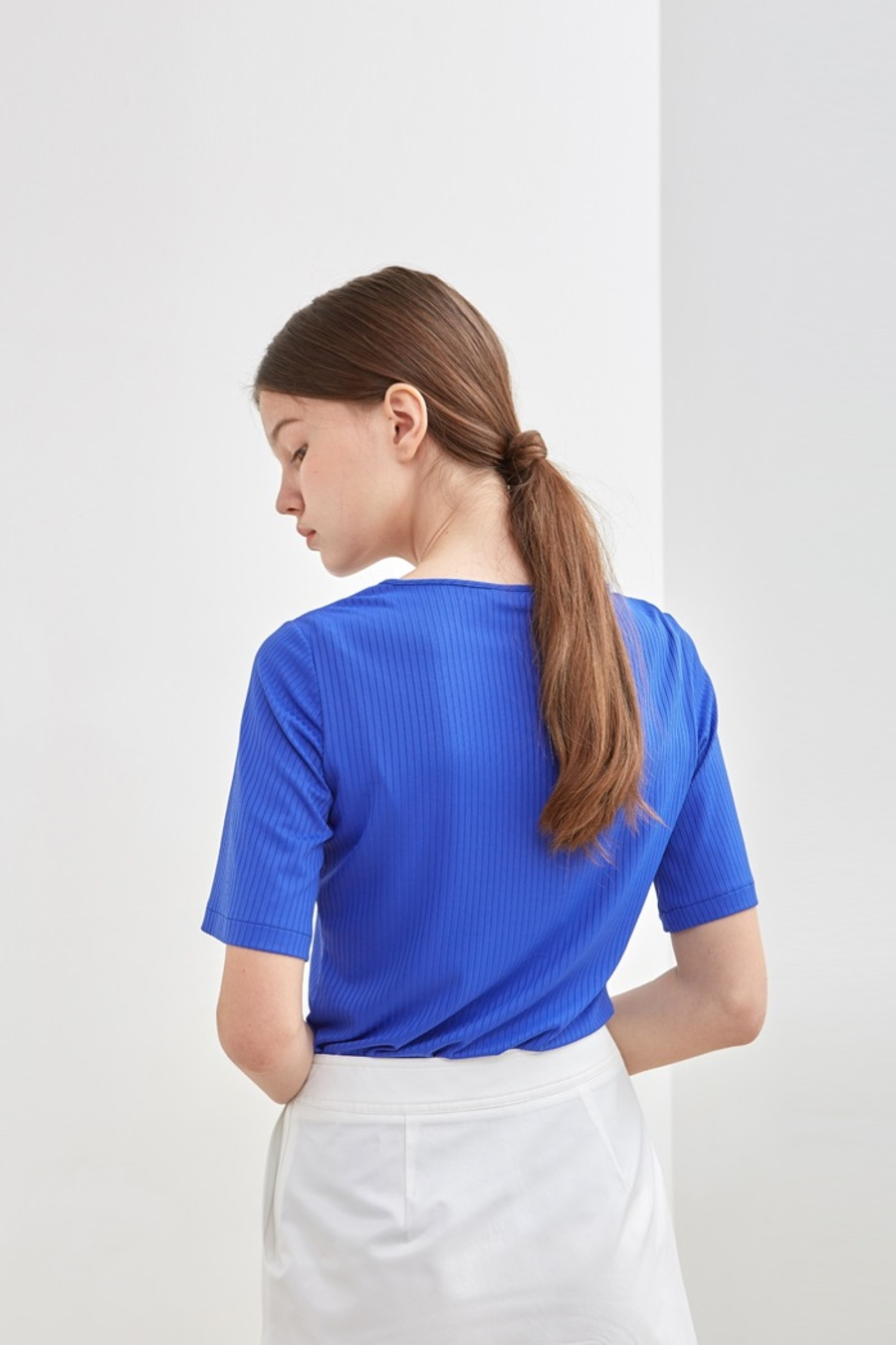 BOLD RIBBED HALF SLEEVE TEE -  BLUE