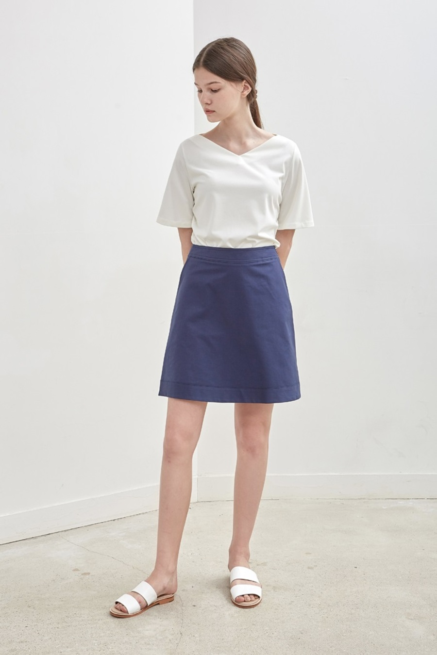 A-LINE POCKET SKIRT - NAVY