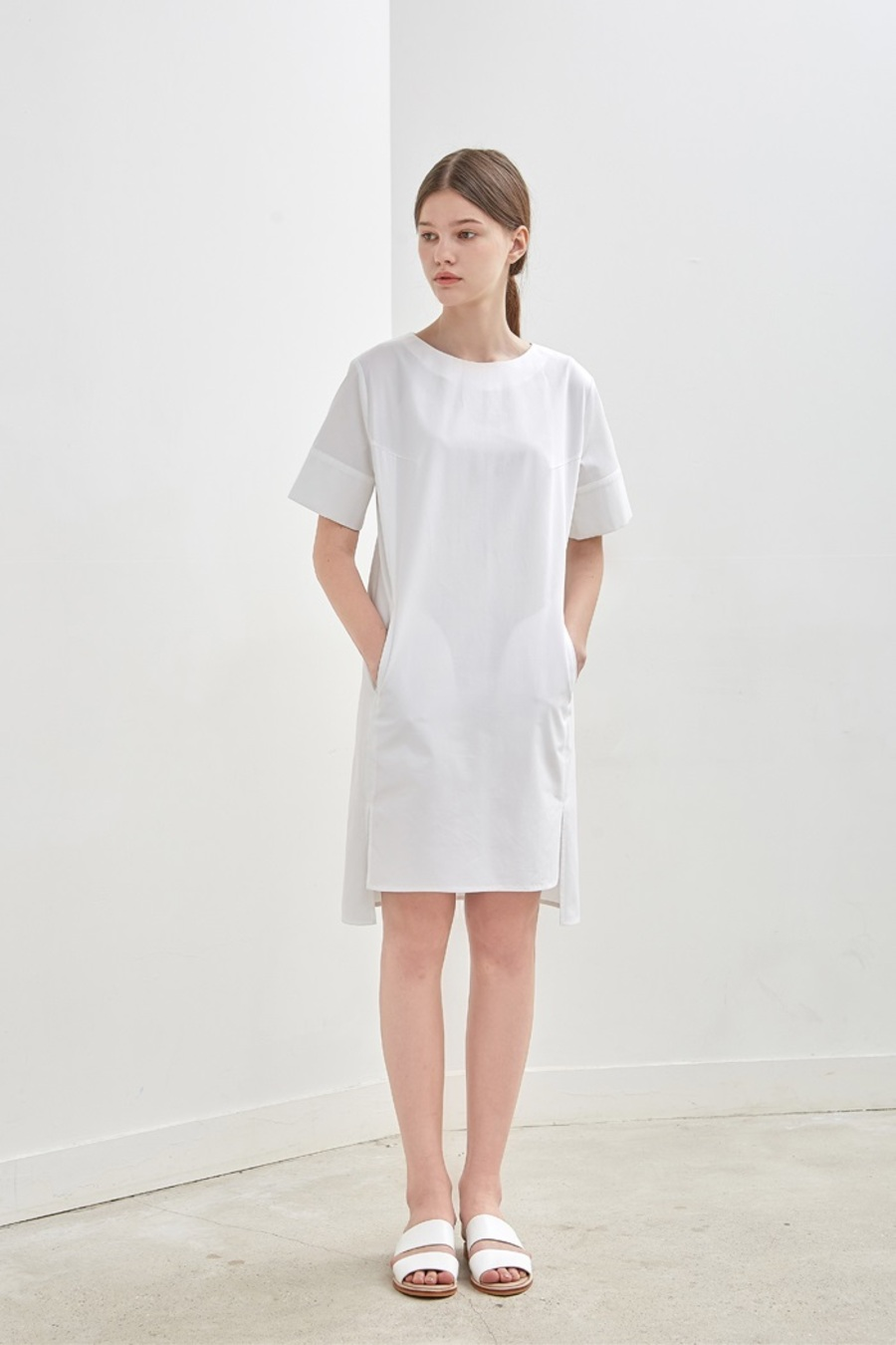 [10%] SLIT COTTON DRESS - WHITE