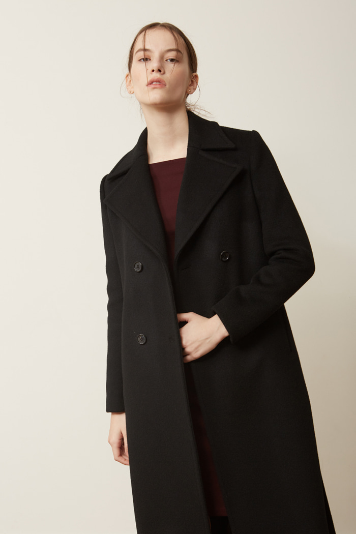 SLIT DOUBLE BREASTED COAT - BLACK