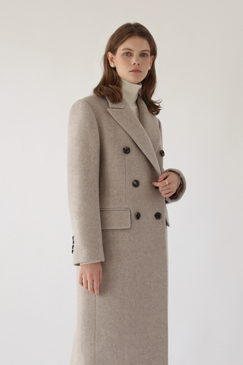 DOUBLE-BREASTED WOOL COAT ( OATMEAL )