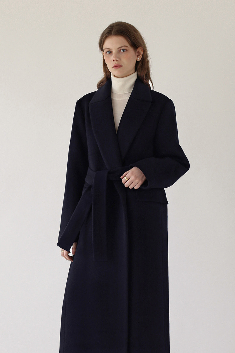 CLASSIC BELTED LONG COAT - NAVY