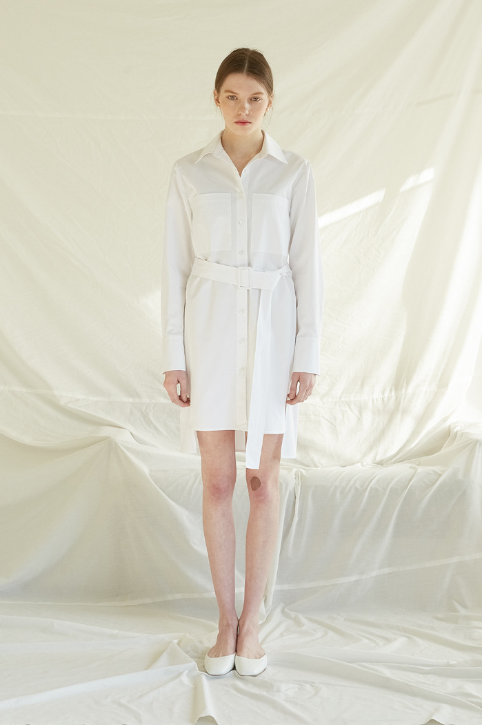 [5%] BELTED SHIRT DRESS - WHITE