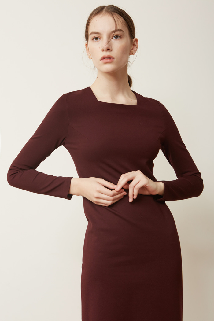 FW ' SQUARE NECK DRESS - WINE