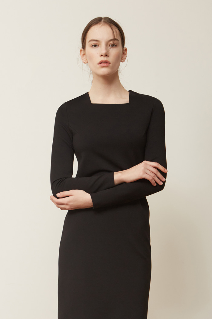 FW ' SQUARE NECK DRESS - BLACK