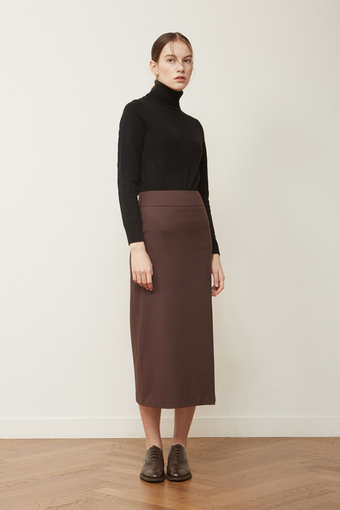 FW ' SLIT LONG SKIRT - BROWN