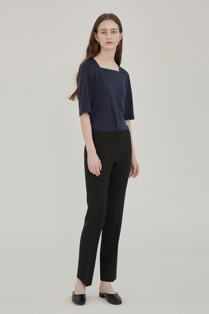 SS' PENCIL STRAIGHT TROUSERS - BLACK