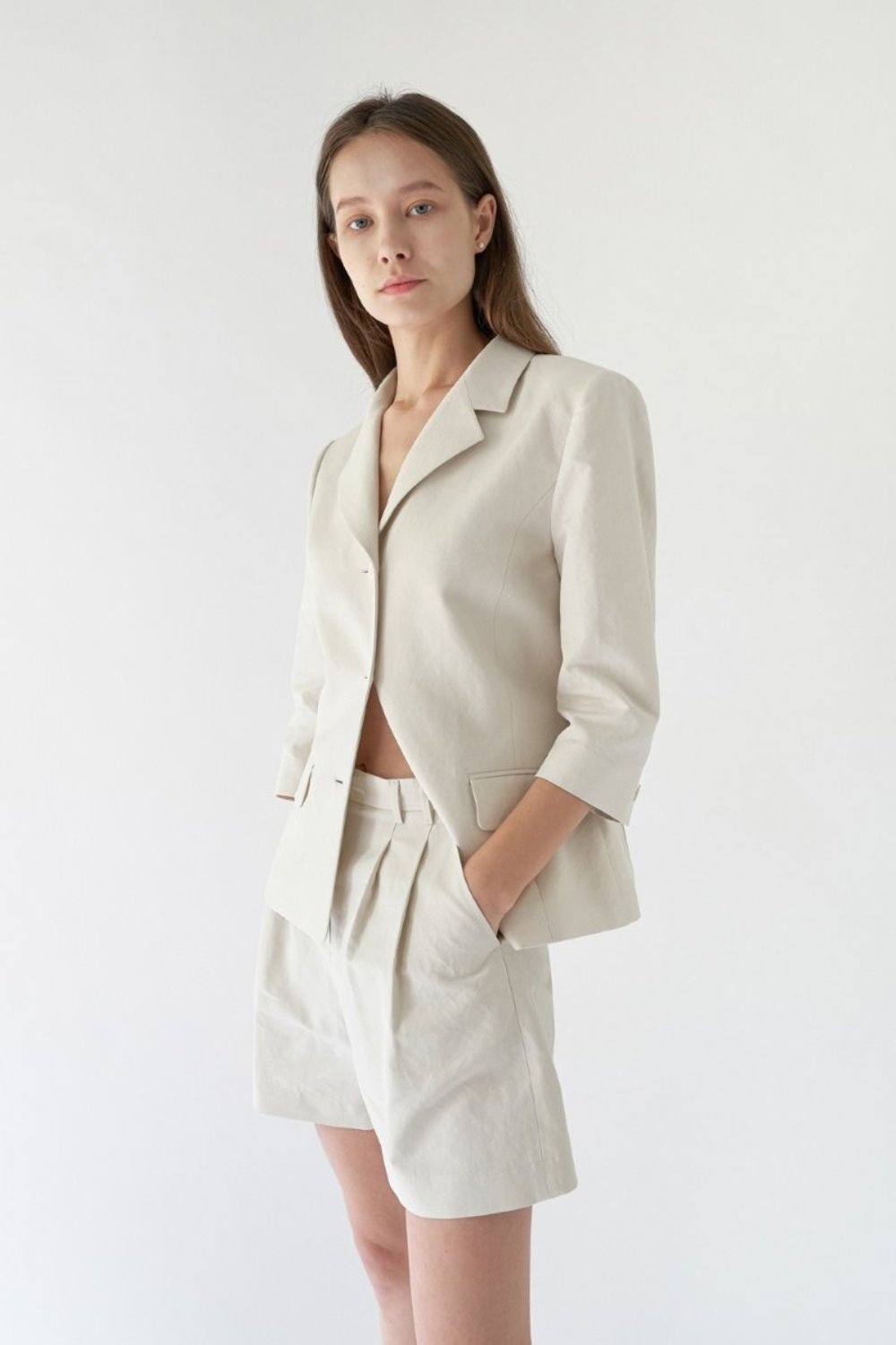 LINNEN SUIT JACKET (SET-UP) - NATURAL BEIGE