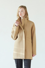 [30%] ZIP UP HALF COAT - LIGHT BEIGE
