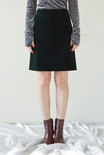 CORDUROY SIMPLE SKIRT - DARK GREEN